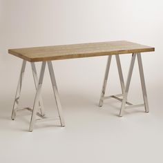 Natural Wood and Chrome Colton Mix & Match Desk | World Market / I like this simple design, but this table is too small.