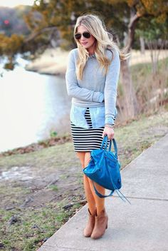 Shop this look on Lookastic:  http://lookastic.com/women/looks/sunglasses-crew-neck-sweater-denim-shirt-mini-skirt-satchel-bag-ankle-boots/9567  — Black Sunglasses  — Grey Crew-neck Sweater  — Light Blue Denim Shirt  — Black and White Horizontal Striped Mini Skirt  — Blue Leather Satchel Bag  — Beige Suede Ankle Boots