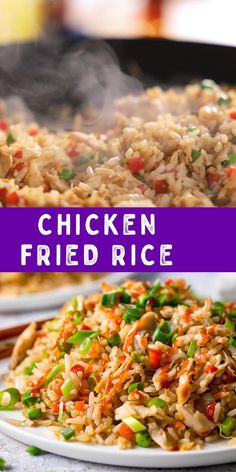 A quick recipe for takeaway-style chicken fried rice with loads of flavour! Great for using up leftover cooked chicken! Chicken Fried Rice Recipe Easy, Fried Rice Recipe Video, Easy Rice Recipes, Baked Chicken Recipes, Asian Recipes, Pf Changs Fried Rice Recipe, Thai Chicken Fried Rice, Special Fried Rice Recipe, Fried Rice Recipe Chinese