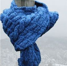 """Hand Knit Olympic Blue Scarf with a Cable Panel - By """"Crafting Memories"""" - #bmecountdown"""