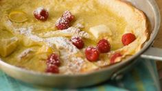 Puffy Pancake with Lemon and Raspberries. I make this all the time -