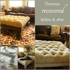 With the new decor/color scheme in our living room, I am changing the look of some of the furniture in the room - I recovered this ottoman with gorgeous neutral fabric - I share my adventures - what worked and what did not!