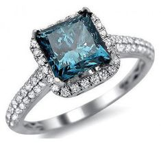 1.84ct Blue Princess Cut Diamond Engagement Ring 18k White Gold Front Jewelers