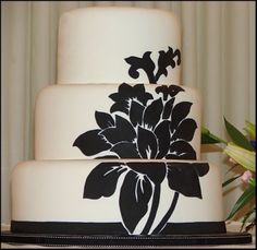 White Wedding Cake with Black Floral Silhouette