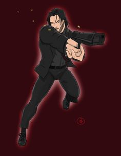 My attempt at an anime type style of John Wick. by Kevan Combs CombsComics.com