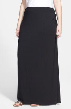"For two easy looks in one, a stretchy maxi skirt with ruched sides can quickly convert to a strapless midi dress. <ul> <li>41 1/2"" length (size 2X).</li> <li>Partially lined.</li> <li>93% modal, 7% spandex.</li> <li>Machine wash cold, lay flat to dry.</li> <li>By Caslon"