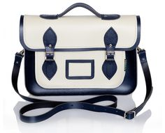 Twin Tone Cream and Navy Leather Satchel