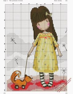 Santa Clara Artesanato: Gorjuss Cross Stitch For Kids, Cross Stitch Love, Cross Stitch Cards, Cross Stitching, Cross Stitch Embroidery, Stitch Doll, Stitch Cartoon, Little Stitch, Cross Stitch Pictures