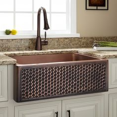 Buy the Signature Hardware 215479 Copper Direct. Shop for the Signature Hardware 215479 Copper Weave Design Single Basin Copper Farmhouse Sink and save. Copper Farmhouse Sinks, Farmhouse Sink Kitchen, Boho Kitchen, Copper Kitchen, New Kitchen, Kitchen Decor, Kitchen Sinks, Kitchen Ideas, Copper Sinks
