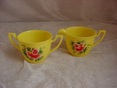 Vintage Plas-Tex Creamer and Sugar Set Hard Plastic Yellow Hand Painted Roses
