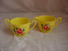 Vintage Plas-Tex Creamer and Sugar Set Hard Plastic Yellow Hand Painted Roses ~ seller; florasgarden on ebay