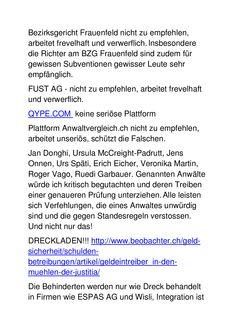 Dreckiger Gauner- und Betrüger(läden)! Ursula, Words, District Court