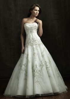 A-Line Strapless Chapel Trailing Tulle With Embroidery Royal Wedding Dresses