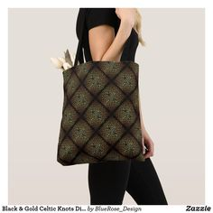 Black & Gold Celtic Knots Diamond Pattern Tote Bag Celtic Knots, Tote Pattern, Yoga Accessories, Printed Tote Bags, Edge Design, Diamond Pattern, Black Gold, Clutches, Things To Sell