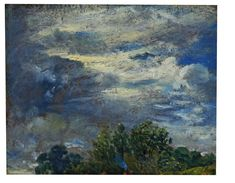 V&A museum: Study of Sky and Trees Object: Oil painting  Place of origin: Hampstead (probably, painted)  Date: 24/09/1821 (painted)  Artist/Maker: John Constable (artist)  Materials and Techniques: oil on paper