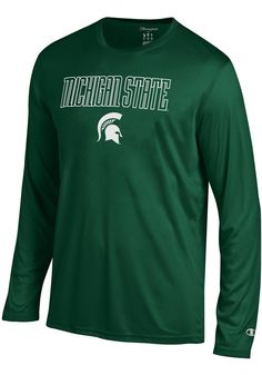 5bc318c01b78 Champion Michigan State Spartans Green Athletic Long Sleeve Tee Long Sleeve  T-Shirt