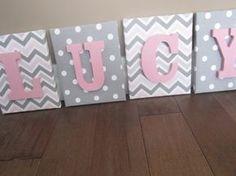 Wall Canvas Letters Nursery Decor Nursery Letters by NurseryShoppe Nursery Room, Girl Nursery, Girl Room, Nursery Decor, Nursery Ideas, Nursery Letters Girl, Bedroom, Canvas Letters, Wooden Letters