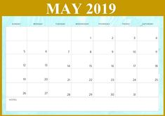 May 2020 Calendar Template: Free Printable May 2020 Calendar Template Word Document, Monthly Blank Calendar Template May 2020 for Desk and Wall Blank Calendar Pages, Blank Monthly Calendar, 2019 Calendar, Printable Calendar Template, Planner Template, Templates Printable Free, Schedule, Pdf, Notes