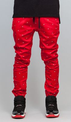 Red Paisley Drop Crotch Jogger