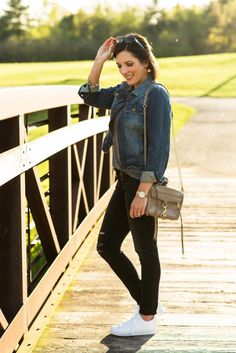 What to Wear to Disney World is one of my all-time most popular blog posts, but styles have changed tremendously since I originally posted four years ago so I'm updating it for 2016! What to Wear to Disney World in the fall: Adidas Superstars, distressed jeans, casual t-shirt, and denim jacket with a crossbody bag.