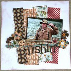 Fishing Scrapbook Layout   12X12 Layout   Scrapbooking Ideas   Creative Scrapbooker Magazine #scrapbooking #12X12layout #fishing