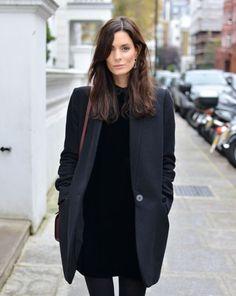 Blazerish coat and medium length black dress and tights