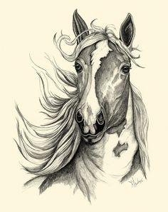 Textured Horse Sketch by JLBurkeArt on Etsy