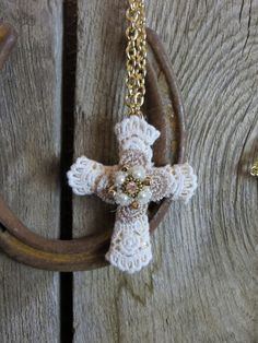 Cowgirl Bling CROCHETED CROSS BOHO Necklace Gypsy Rhinestone Pearls Western #Unbranded #necklace