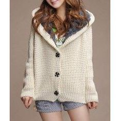 trendsgal.com - Trendsgal Hooded Long Sleeve Flocky Single Breasted Knitted Cardigan - AdoreWe.com