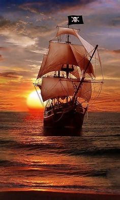 Pirate Ship Sailing on the Evening Sea, Pirate Art, Pirate Life, Pirate Ships, Pirate Crafts, Lady Pirate, Bateau Pirate, Old Sailing Ships, Sailing Boat, Black Sails