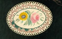 Charming Perforated Paper & Watercolor Theorem Sentiment c1860s