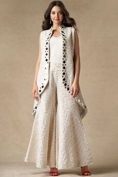 Shop Twenty Nine Mirror Work Jacket , Exclusive Indian Designer Latest Collections Available at Aza Fashions Stylish Dress Designs, Stylish Dresses, Indian Designer Outfits, Designer Dresses, Indian Fashion Designers, Mirror Work Dress, Mirror Work Kurti, Western Dresses For Girl, Sleeves Designs For Dresses