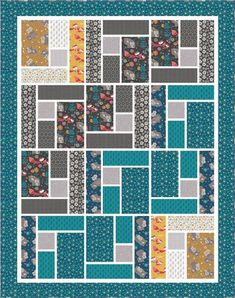Mama and Me - Whimsical Free Quilt Pattern by Camelot FabricsWhimsical Quilt designed by Larene Smith of The Quilted Button for Camelot Fabrics, Featuring Mama & Me Collection by Andrea Turk of Cinnamon Joe StudioWould be a great pattern for a seasonal wa Big Block Quilts, Strip Quilts, Boy Quilts, Quilt Blocks, Quilting For Beginners, Quilting Tutorials, Quilting Projects, Quilting Designs, Quilting Ideas