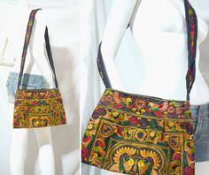 HIPPIE BOHO thai handmade floral bird hmong tribe cross body bags handbag orange #Unbranded #Hobo