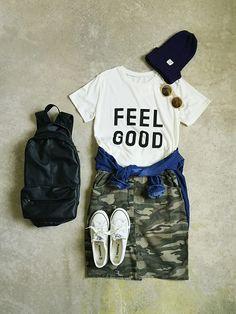 #WEGO #タイトスカート #デニムシャツ #スポーツミックス #丸メガネ #お気に入りのTシャツ #カモフラスカート #帽子×メガネ #大きめリュック