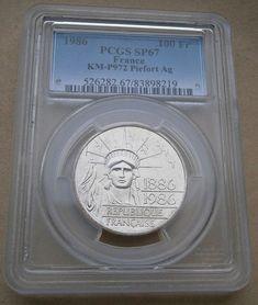 France 100 Francs 1886 - 1986 Silver PCGS SP67 Piedfort Low Mintage 30 Grams