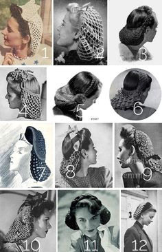 12 free vintage1940s crochet snood patterns