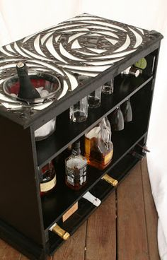 Bar from old tv console.