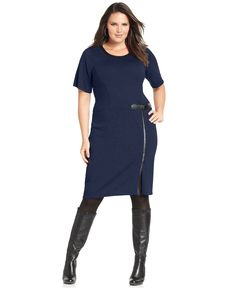 Design 365 Plus Size Dress, Short-Sleeve Faux Leather Sweater - Plus Size Dresses - Plus Sizes - Macy's