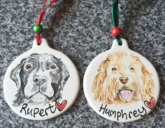 "This customer emailed us to say how much she loves her dog decorations: ""They are AMAZING!!! We are so thrilled!! Thank you once again for an incredible product. You never fail to impress me."" Available here http://www.dfordog.co.uk/personalised-ceramic-dog-decoration.html"