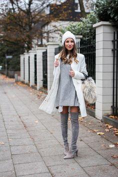 Ein schöner Stilbruch: Bommelmütze + Overknees #winteroverknees #overkneeskombinieren #overkneesgrau