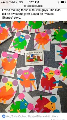 Preschool II Math Activity: Mouse Shapes Book/Craft Source by bystritskay Preschool Books, Kindergarten Art, Preschool Activities, Preschool Shapes, Teaching Shapes, Mouse Paint Activities, Art Activities, Mouse Crafts, Shape Books