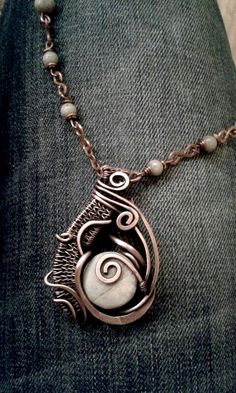 Copper wire wrapped pendant necklace with red line Jasper stones Custom ordered!https://www.etsy.com/shop/Tangledworld