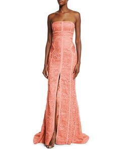 Strapless Tonal-Piping Lace Gown, Coral by J. Mendel at Neiman Marcus.