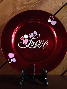 Items similar to Valentine Charger Plate on Etsy Valentines Day Decorations, Valentines Day Party, Valentine Day Crafts, Holiday Crafts, Valentines Design, Charger Plate Crafts, Charger Plates, Plate Chargers, My Funny Valentine