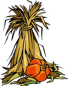 colorful clip art for the autumn season cornstalks and pumpkins - Halloween Corn Stalks
