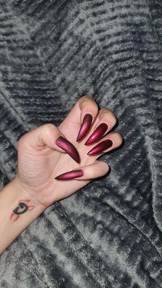 #mattenails #stilettonails #darkred #longnails Matte Nails, Stiletto Nails, Long Nails, Dark Red, Matte Nail Polish, Matt Nails, Edgy Nails