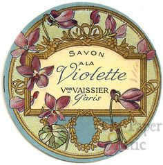 vintage perfume label images | Antique Vintage French Paris Perfume Soap Label Savon a la Violette ...