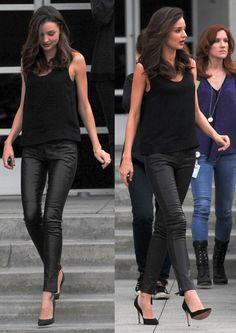 leather pants, black tank and black pumps // miranda kerr