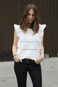 Fashion and style: White ruffle top